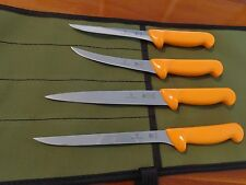 Swibo 4 Fishing Knife Set Swiss Hard Stainless Set With Heavy Aussie Canvas Wrap