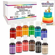 12 Color-US Food Coloring Cake Supply by Chefmaster Liqua-Gel Paste Cake Color -
