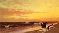 Art Oil painting Francis A. Silva - Seascape at Sunset with ocean waves by beach