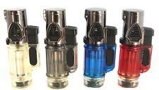 2 Triple Jet Windproof Torch Lighter Flame w Butane For Cigar Cigarette w Lock