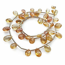 """IMPERIAL TOPAZ Faceted Teardrop Briolettes 7-11mm 16"""" Gemstone Bead Strand 80ct"""