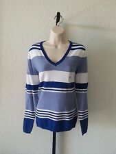 Authentic NWT Tommy Hilfiger Women's  V Neck Pullover Sweater Striped