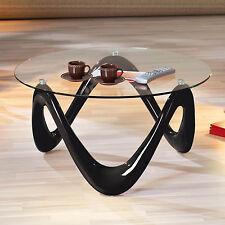 Table basse table de salon d´appoint design moderne plateau en verre pied NOIR