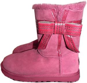 Ugg Australia Josette Boots Fur Lined Bow Shoes Booties 10/ - 41 Sangria Color