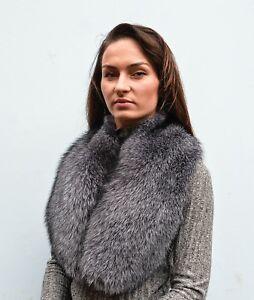 Luxurious Saga Furs Blue Frost Fox Fur Women's Furry Collar Scarf Boa Stole Wrap