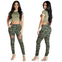 🔥Women Fashion Camouflage Print Mesh Patchwork Hole Casual Club Long Pants