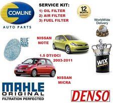 para NISSAN MICRA aviso 1.5 Dti DCI 2003-2011 Filtro de Aceite Aire Combustible