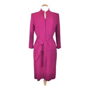 Tahari Skirt Suit 8 Crepe Rasberry Self Tie Belted 2 pc. Pink Straight Lined