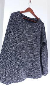 COS cotton blend knit sweatshirt jumper, navy melange, relaxed, L