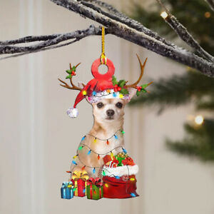 Christmas Tree Ornament Wooden Hanging Tag CUTE DOG Xmas Home Party Decoration