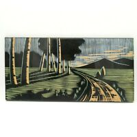 Vintage Handmade Carved Wood Art Picture Painting USSR Black Colored Pan Antique