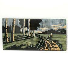Vintage Handgefertigt Geschnitzte Holz Kunst Bild Malerei USSR Schwarz Bunt Pan