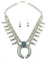 Navajo Sterling Silver Turquoise Squash Blossom Necklace & Earring Set