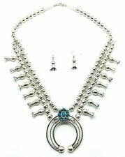 Blossom Necklace & Earring Set Navajo Sterling Silver Turquoise Squash