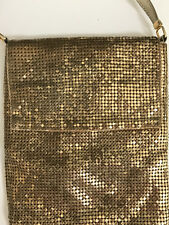 Vintage WHITING and DAVIS Small CHAIN MAIL - GOLD MESH PURSE with SHOULDER STRAP