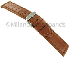 24mm Milano Genuine Alligator Tan Padded Stitched Mens Watch Band Fits panerai