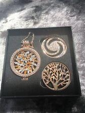 Gold Interchangeable locket pendant, long Chain 3 discs in presentation box