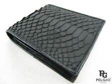 PELGIO Real Genuine Python Snake Skin Leather Men's Bifold Wallet Matte Black