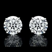8mm Created Diamond Round Cut 925 Sterling Silver Stud Earrings 4.00ct VVS1
