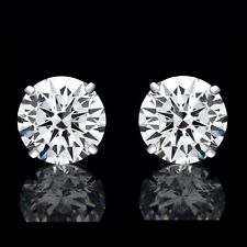 41690981b84e 8mm creado Diamante Corte Redondo Aretes Plata Esterlina 925 4.00ct VVS1