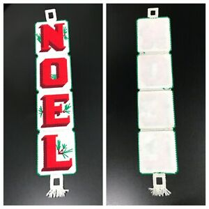 """Christmas Door Wall Hanging NOEL Plastic Canvas White w Red Letters Handmade 24"""""""