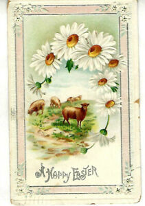 Antique Easter Christian Card Daisy Flowers Sheep Flock Rural Milford CO US