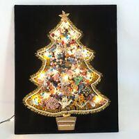 Vintage Rhinestone Costume Jewelry Christmas Tree Art Lighted Black Velvet 16x20