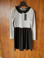 ONLY DRESS Black White Peter Pan Collar A-Line M / UK 12 / 40 - NEW