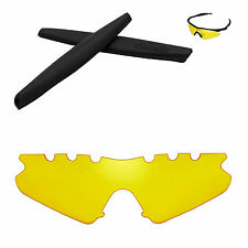 Walleva Yellow Vented Replacement + Black Earsocks For Oakley M Frame Sweep