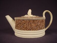 VERY RARE 1780 INLAID AGATE DECORATED TEAPOT with LID MOCHA MOCHAWARE PEARLWARE