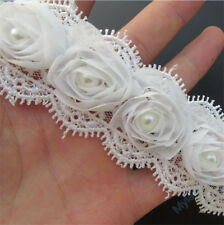 32pcs Flowers Vintage Ivory Pearl Lace Edge Trim Wedding Ribbon Applique Sewing