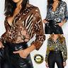 Womens Fashion Leopard Chiffon Long Sleeve T Shirt Tops Casual Loose Blouse Tee