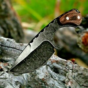 Drop Point Knife Serrated Hunting Wild Combat Tactical Stonewashed Wood Handle S