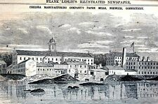 Norwich Connecticut 1866 CHELSEA MANUFACTURING CO. PAPER MILL Matted Art Print