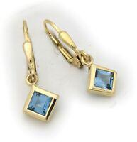 Damen Ohrringe Hänger echt Topas 5 x 5 mm Carree Gold 585 14 karat Quadrat Neu