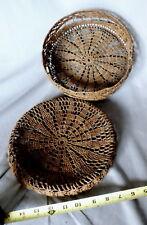 Rare antique sewing Basket lidded Macrame Sailor Made 19th C 1800s Ropework