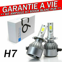 KIT AMPOULE LED H7 6000K 72W BLANC PUR AUTO MOTO 7600 LUMENS FEU PHARE XENON