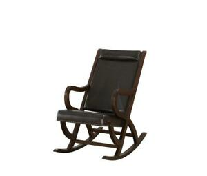 Espresso Brown Faux Leather with Walnut Finish Rocking Chair