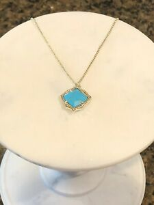 NWT Kacey Gold Long Pendant Necklace In Bronze Veined Turquoise