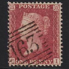 J28 GB QV 1857 1d ROSE-RED PLATE 61 (SG40) 'CI' VFU GREENOCK (163) C10