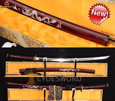 High Quality Japanese CLAY TEMPERED SWORD Razor Sharp KATANA Dragon Shell SAYA