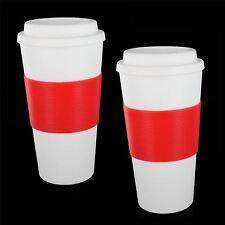 2 x 16oz isolamento termico in plastica da viaggio tè caffè tazza da asporto TAZZA CON COPERCHIO 450ml