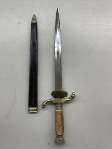 Vintage BLACK FOREST Solingen Short Sword Dagger Knife with Leather Sheath MINT!