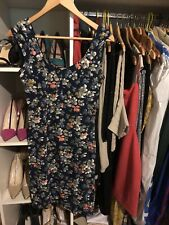 French Connection Blue Floral Bodycon Summer Dress Size 10