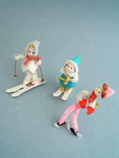 Vintage 50's Three Christmas Skier Skater Ornaments Chenille, Mica