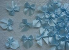 "Lots 50 L. Blue Satin Ribbon Bows Appliques-1-1/8"" (W) -R0026L"