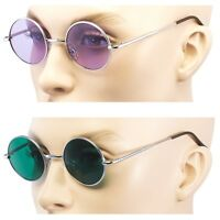 2 PAIR John Lennon Style Vintage Circle Round Sunglasses Men Women GREEN PURPLE