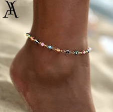 Evil Eye Anklet Ankle Bracelet 77-2 Women's Fashion Jewelry Gold Plated Colorful