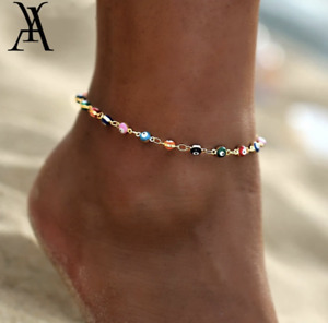 Women's Fashion Jewelry Gold Plated Colorful Evil Eye Anklet Ankle Bracelet 77-2
