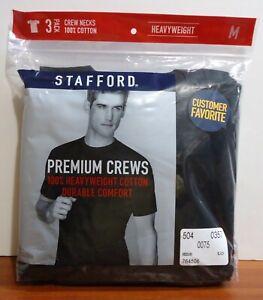 Stafford 3-Pack Men's Heavy Weight 100% Cotton Crew-Neck T-Shirt Black